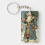 Vintage Christmas, Victorian Santa Claus Rectangular Acrylic Keychain
