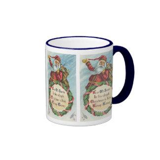 Vintage Christmas Victorian Santa Claus Mugs