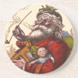 Vintage Christmas, Victorian Santa Claus Pipe Toys Beverage Coaster