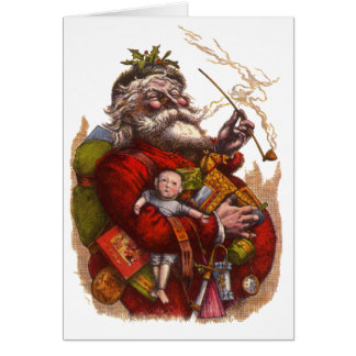 Vintage Christmas, Victorian Santa Claus Pipe Toys Card