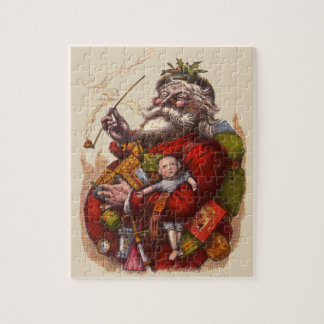 Vintage Christmas, Victorian Santa Claus Pipe Toys Jigsaw Puzzle