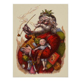 Vintage Christmas, Victorian Santa Claus Pipe Toys Poster
