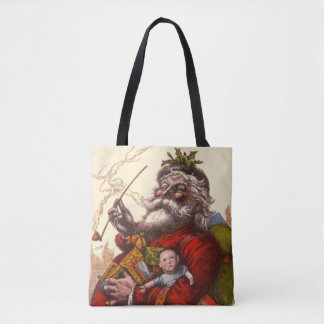 Vintage Christmas, Victorian Santa Claus Pipe Toys Tote Bag
