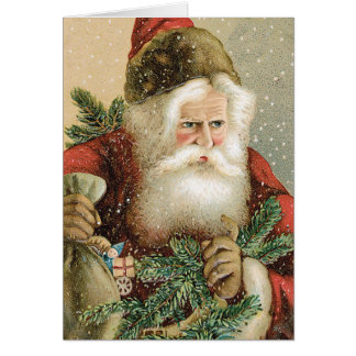 Vintage Christmas, Victorian Santa Claus with Pine Card
