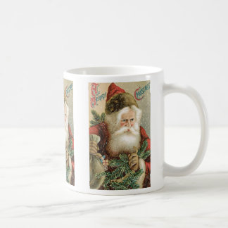 Vintage Christmas, Victorian Santa Claus with Pine Coffee Mug