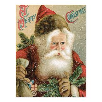 Vintage Christmas, Victorian Santa Claus with Pine Postcard