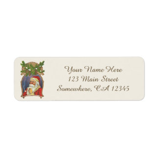 Vintage Christmas, Victorian Santa Claus with Pipe Return Address Label