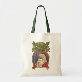 Vintage Christmas, Victorian Santa Claus with Pipe Tote Bag