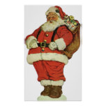 Vintage Christmas, Victorian Santa Claus with Toys Poster