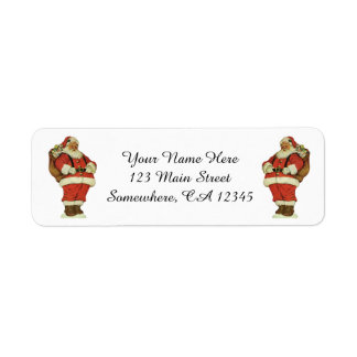 Vintage Christmas, Victorian Santa Claus with Toys Return Address Label