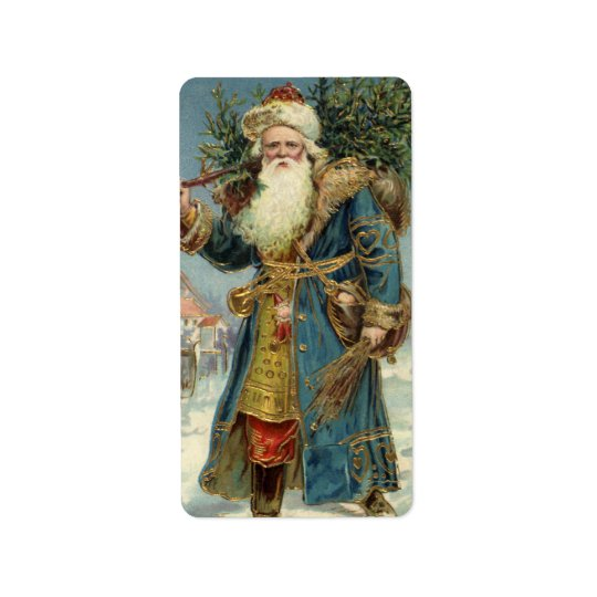 Vintage Christmas, Victorian Santa Claus with Tree Address Label