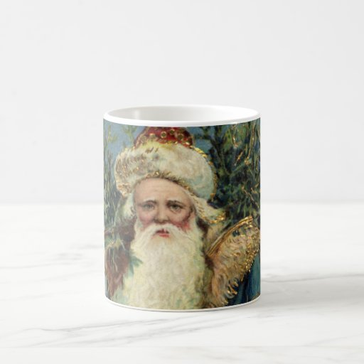 Vintage Christmas, Victorian Santa Claus with Tree Basic White Mug