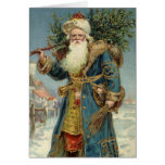 Vintage Christmas, Victorian Santa Claus with Tree Greeting Card