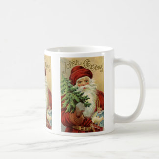 Vintage Christmas, Victorian Santa Claus with Tree Coffee Mug