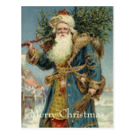 Vintage Christmas, Victorian Santa Claus with Tree Postcard