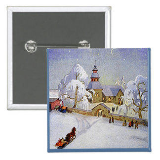 Vintage Christmas Village Church Scene button