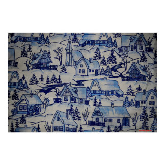 Vintage Christmas Village Merry Xmas Holiday Poster
