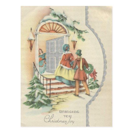 Vintage Christmas Visitors Postcard