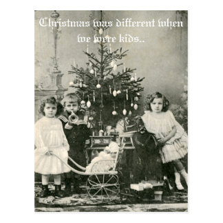 """Vintage """"Christmas was different"""" funny photo Postcard"""