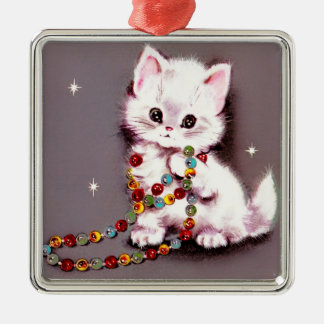 Vintage Christmas White Cat Persian Mauve Kitty Metal Ornament