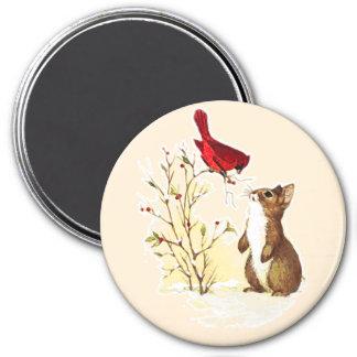 Vintage Christmas Wildlife 7.5 Cm Round Magnet