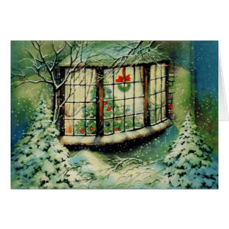 Vintage Christmas Window Decorations Greeting Card