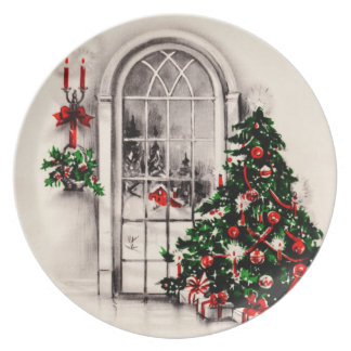 Vintage Christmas Window Plate