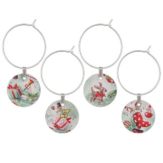 Vintage Christmas Wine Charms