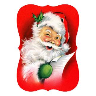 Vintage Christmas Winking Santa 13 Cm X 18 Cm Invitation Card