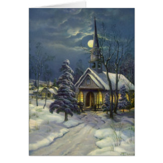 Vintage Christmas, Winter Church in Moonlight Greeting Card