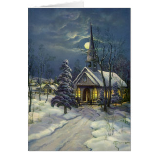 Vintage Christmas, Winter Church in Snow with Moon Card
