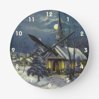 Vintage Christmas, Winter Church in Snow with Moon Round Clock