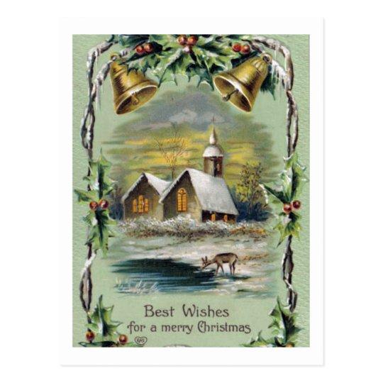 Vintage Christmas Winter Scene Postcard