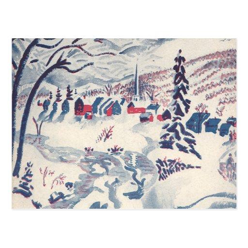 Vintage Christmas, Winter Village Snowscape Postcards