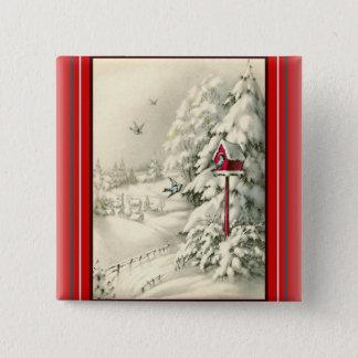 Vintage Christmas ~Winter Wonderland Red Birdhouse 15 Cm Square Badge