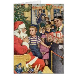 Vintage Christmas Wish, Boy on Santa Claus Lap Card