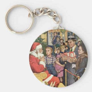 Vintage Christmas Wish Boy on Santa s Lap Key Chain