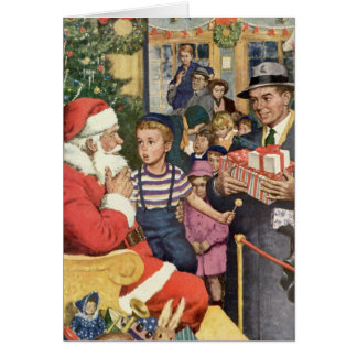 Vintage Christmas Wish, Boy on Santa's Lap Card