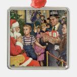 Vintage Christmas Wish, Boy on Santa's Lap Christmas Tree Ornaments