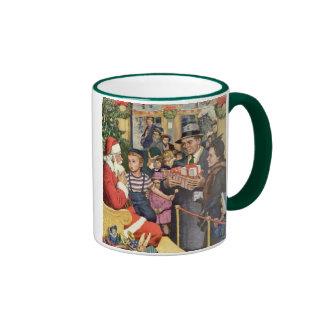 Vintage Christmas Wish, Boy on Santa's Lap Coffee Mug