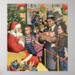 Vintage Christmas Wish, Boy on Santa's Lap Print