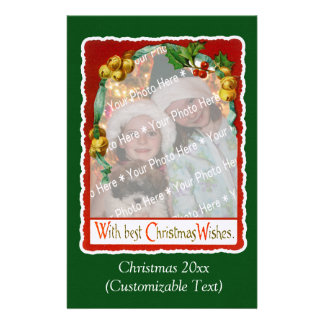 Vintage Christmas Wishes Photo Template Customized Stationery