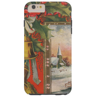 Vintage Christmas with Bells, Holly, Village Tough iPhone 6 Plus Case