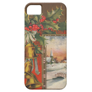 Vintage Christmas with Bells, Holly, Village iPhone 5 Covers