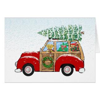 Vintage Christmas Woody Wagon Bringing Home Tree Greeting Card