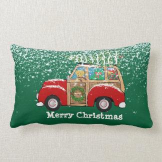 Vintage Christmas Woody Wagon Bringing Home Tree Lumbar Pillow