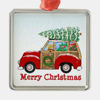 Vintage Christmas Woody Wagon Bringing Home Tree Silver-Colored Square Decoration