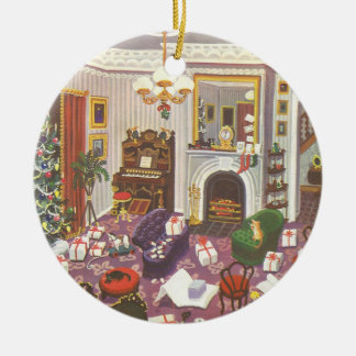 Vintage Christmas Wrapping Presents in Living Room Round Ceramic Decoration