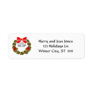 Vintage Christmas Wreath Bells Custom Color Return Address Label