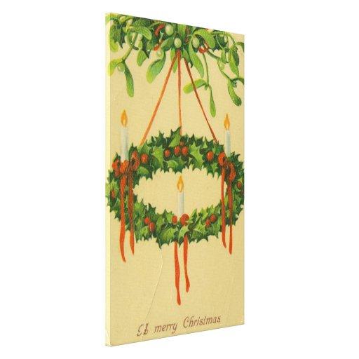 Vintage Christmas Wreath Chandelier Canvas Prints